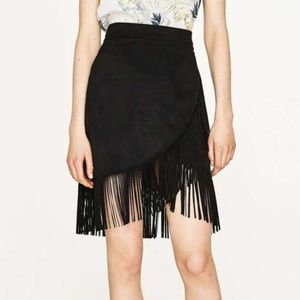 Vintage Genuine Suede Leather Fringe Wrap Skirt